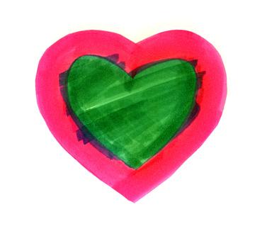 Herz mit grüner Fläche