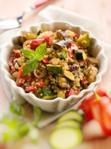 quinoa salad with vegetables,selective focus